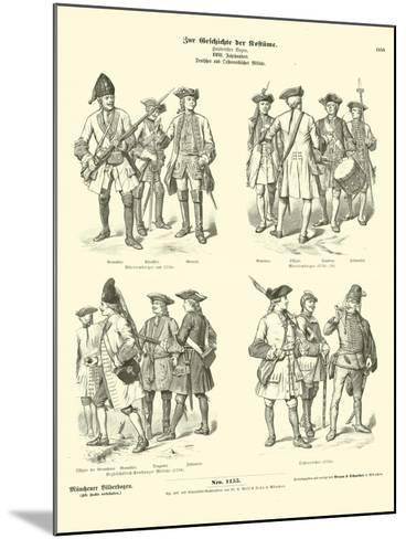 German and Austrian Military Uniforms, 18th Century--Mounted Giclee Print