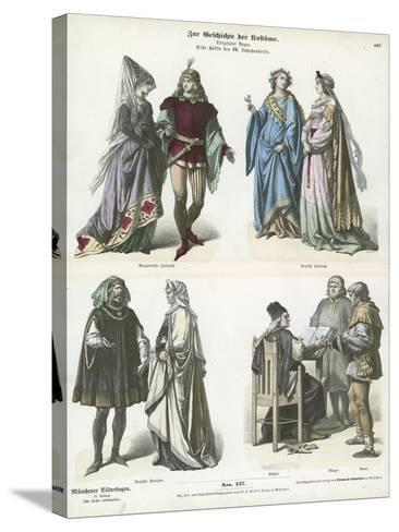 Burgundian and German Costumes, First Half of 15th Century--Stretched Canvas Print