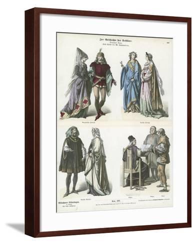 Burgundian and German Costumes, First Half of 15th Century--Framed Art Print