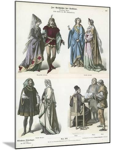 Burgundian and German Costumes, First Half of 15th Century--Mounted Giclee Print