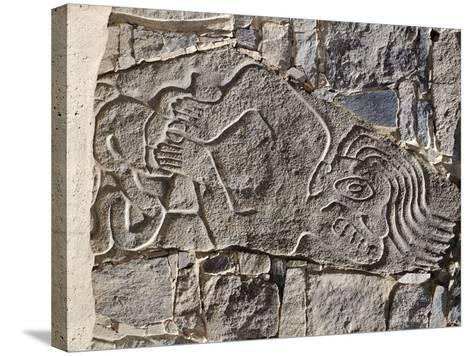 Architectural Stone Engraved with a Dying Man, from Carro Sechin--Stretched Canvas Print
