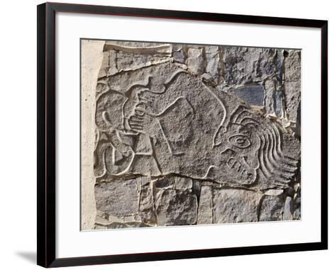 Architectural Stone Engraved with a Dying Man, from Carro Sechin--Framed Art Print