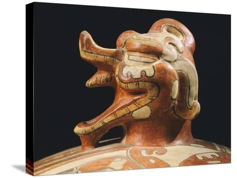 Polychrome Terracotta Container, Originating from Tikal--Stretched Canvas Print