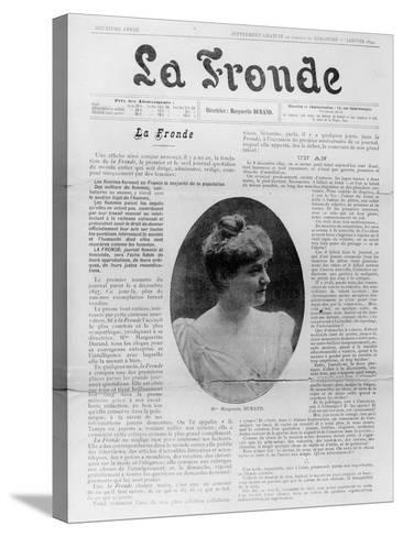 Front Page of 'La Fronde', Edited by Marguerite Durand, 1st January 1899--Stretched Canvas Print
