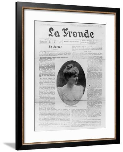 Front Page of 'La Fronde', Edited by Marguerite Durand, 1st January 1899--Framed Art Print