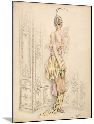 Design for Womans Court Dress, by Jules De Ban, 1920--Mounted Giclee Print