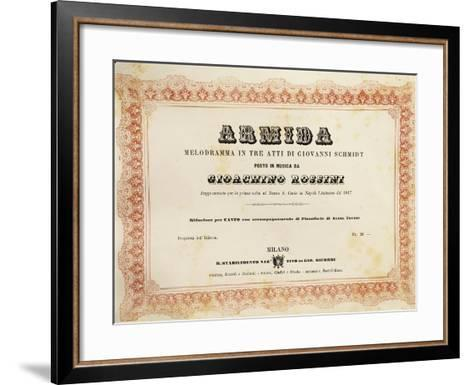Reduced Piano and Vocal Score of 'Armida'--Framed Art Print