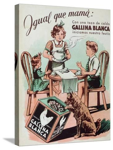 Poster Advertising Gallina Blanca Stock Cubes, 1950--Stretched Canvas Print