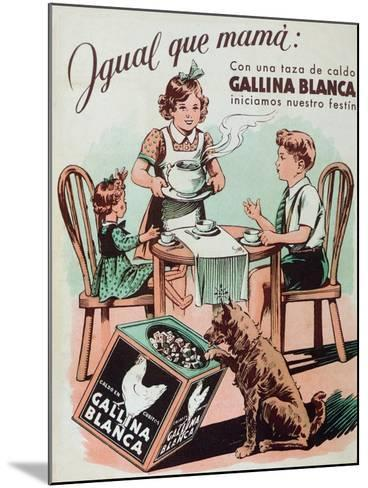 Poster Advertising Gallina Blanca Stock Cubes, 1950--Mounted Giclee Print