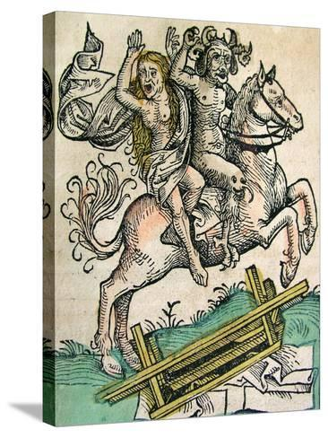 Devil and a Woman on Horseback, Published in the Nuremberg Chronicle, 1493--Stretched Canvas Print