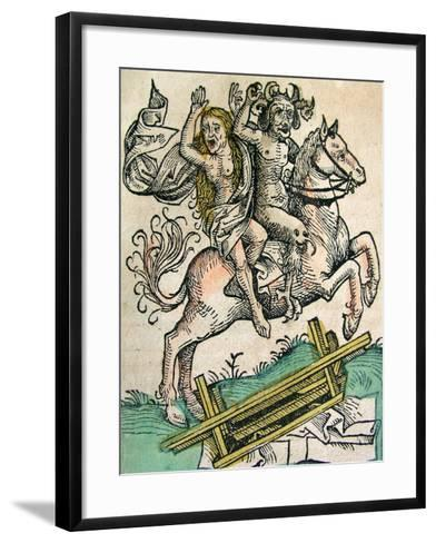 Devil and a Woman on Horseback, Published in the Nuremberg Chronicle, 1493--Framed Art Print