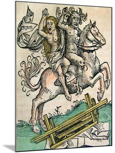 Devil and a Woman on Horseback, Published in the Nuremberg Chronicle, 1493--Mounted Giclee Print
