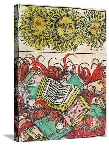 """""""Three Suns and Book Burning"""", Published in the Nuremberg Chronicle, 1493--Stretched Canvas Print"""