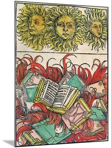 """""""Three Suns and Book Burning"""", Published in the Nuremberg Chronicle, 1493--Mounted Giclee Print"""