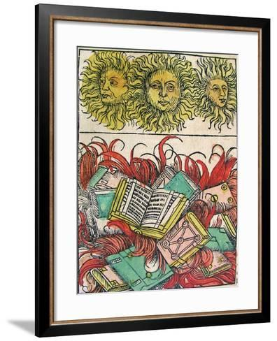 """""""Three Suns and Book Burning"""", Published in the Nuremberg Chronicle, 1493--Framed Art Print"""