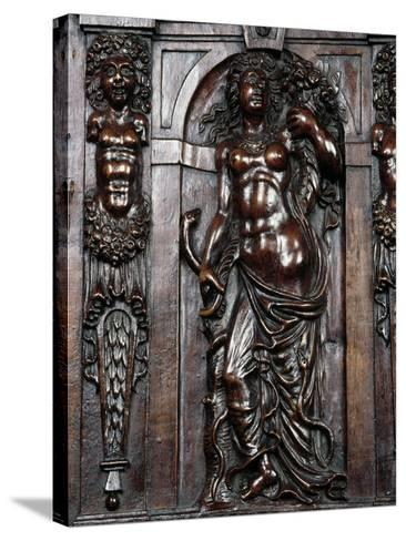 Decoration on Carved Walnut Sideboard--Stretched Canvas Print
