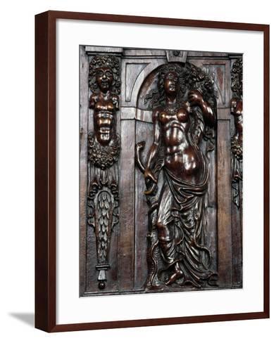 Decoration on Carved Walnut Sideboard--Framed Art Print