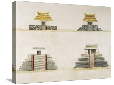 Historical Reconstruction of Buildings in Tenochtitlan--Stretched Canvas Print