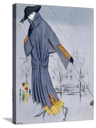 On the Street, Illustration of a Woman in a Coat by V. Manheimer--Stretched Canvas Print