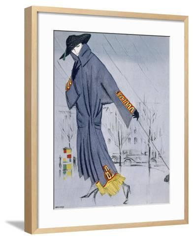 On the Street, Illustration of a Woman in a Coat by V. Manheimer--Framed Art Print