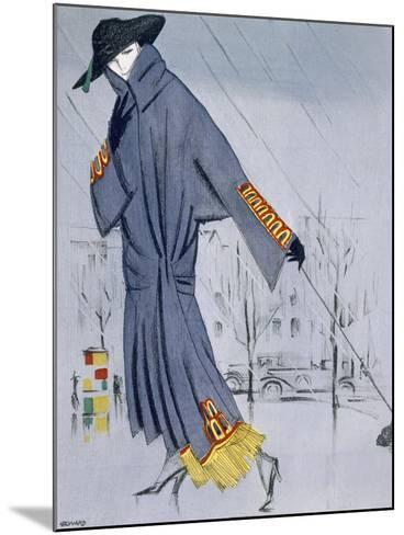 On the Street, Illustration of a Woman in a Coat by V. Manheimer--Mounted Giclee Print