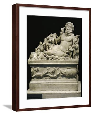 Marble Statue Representing Tiber River, Copy on Smaller Scale of Statue--Framed Art Print