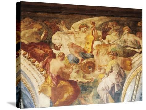 Apollo Among Muses on Parnassus, Fresco by Francesco Primaticcio--Stretched Canvas Print