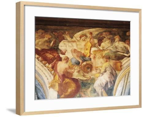Apollo Among Muses on Parnassus, Fresco by Francesco Primaticcio--Framed Art Print