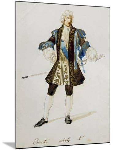 Costume Sketch for Count in Adriana Lecouvreur, Opera by Francesco Cilea--Mounted Giclee Print