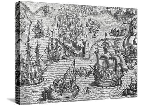 Naval Battle, Engraving from American History by Theodore De Bry--Stretched Canvas Print