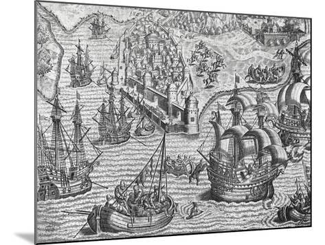 Naval Battle, Engraving from American History by Theodore De Bry--Mounted Giclee Print