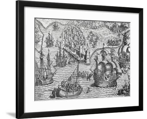 Naval Battle, Engraving from American History by Theodore De Bry--Framed Art Print