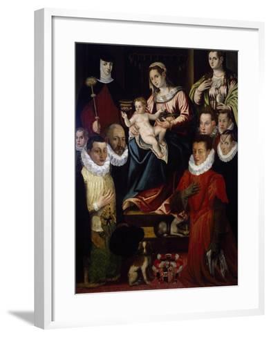 Madonna Adored by St Mary Magdalene, St Brigid and the Cadamosto Family--Framed Art Print