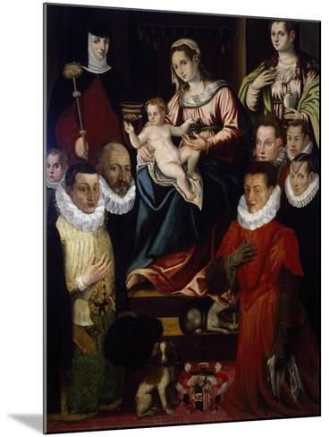 Madonna Adored by St Mary Magdalene, St Brigid and the Cadamosto Family--Mounted Giclee Print