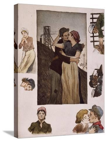 Couple of Workers Kissing, Illustration for Works of Emile Zola--Stretched Canvas Print