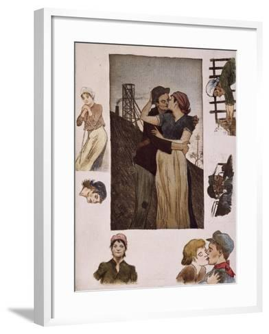 Couple of Workers Kissing, Illustration for Works of Emile Zola--Framed Art Print
