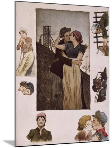 Couple of Workers Kissing, Illustration for Works of Emile Zola--Mounted Giclee Print