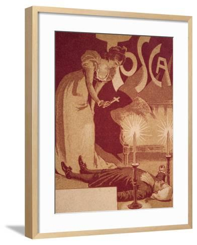 Postcard Depicting Scene from Tosca, Opera by Giacomo Puccini--Framed Art Print