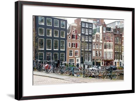 Bikes on Lijnbaansbrug Bridge, Amsterdam, the Netherlands--Framed Art Print