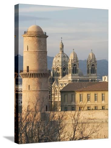 Beacon Tower, Fort Saint-Jean and Marseille Cathedral--Stretched Canvas Print
