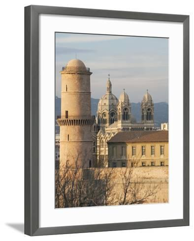 Beacon Tower, Fort Saint-Jean and Marseille Cathedral--Framed Art Print