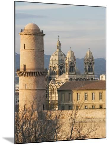 Beacon Tower, Fort Saint-Jean and Marseille Cathedral--Mounted Giclee Print