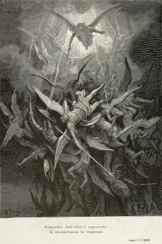 The Fall of Angels, Scene from Paradise Lost by John Milton--Stretched Canvas Print
