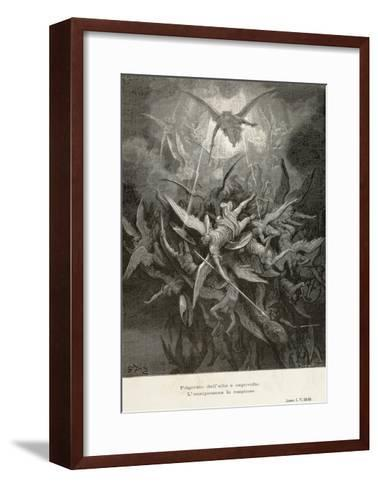 The Fall of Angels, Scene from Paradise Lost by John Milton--Framed Art Print