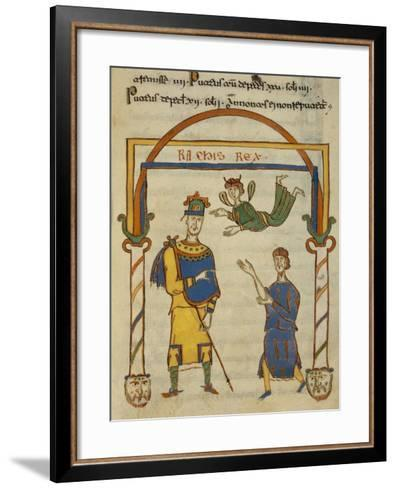 King Ratchis, Miniature from the Codex Matritensis Leges Langobardorum--Framed Art Print