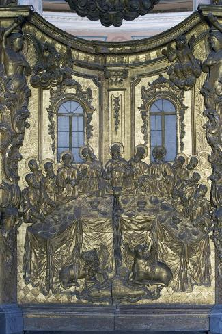 Last Supper, Wooden Bas-Relief, Cathedral of Dormition or Uspensky Sobor--Stretched Canvas Print