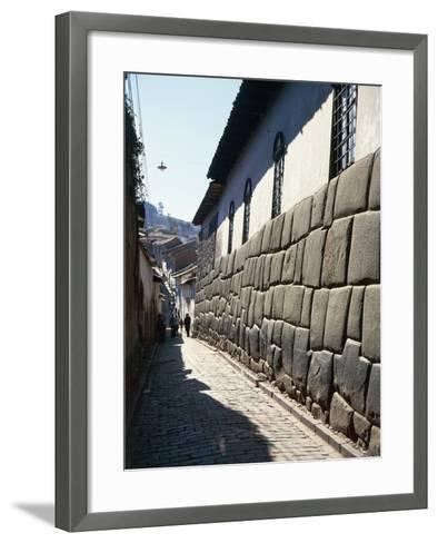 Peru, Cuzco, Wall of an Inca Building in Calle Hatunrumioc--Framed Art Print