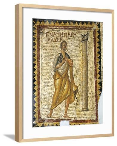 Mosaic Depicting Man Looking at Sundial, from Ancient Daphne--Framed Art Print