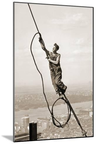 Construction Worker, Empire State Building, New York City, C.1930-Lewis Wickes Hine-Mounted Photographic Print