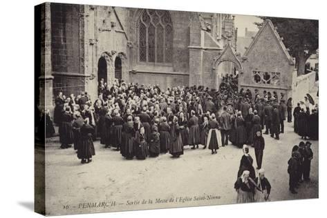 Postcard Depicting Crowds Gather Outside L'Eglise Saint-Nonna after Mass--Stretched Canvas Print